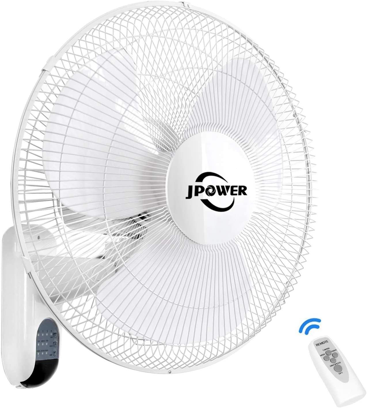 JPOWER 16 Inch Wall Mounted Fan With Remote